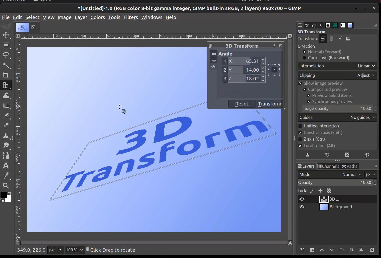Das 3D-Transformationswerkzeug im Einsatz