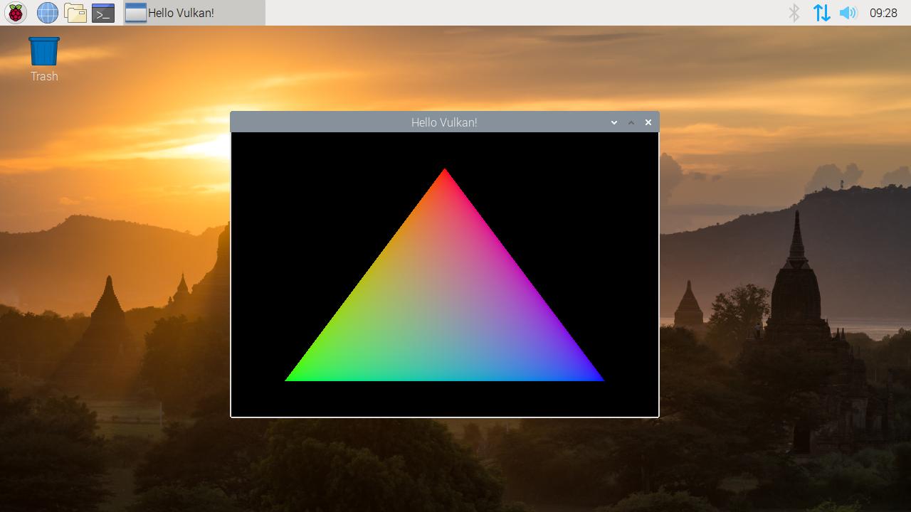 Screenshot des mittels Vulkan gerenderten Dreiecks
