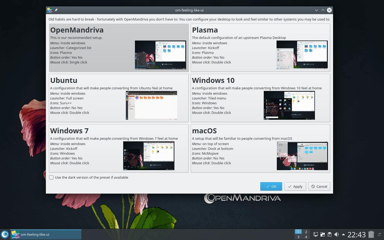 Das Desktop Preset Tool von OpenMandriva